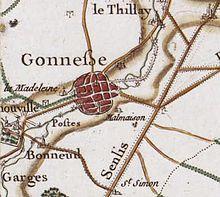 Gonesse vers 1780 (carte de Cassini)